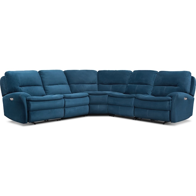 Living Room Furniture - Cruiser 5-Piece Dual Power Reclining Sectional with 2 Reclining Seats - Ink