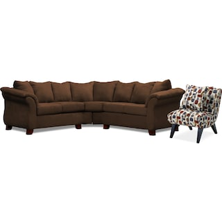 Adrian 2-Piece Sectional and Accent Chair Set - Chocolate