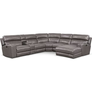 Newport 6-Piece Dual-Power Reclining Sectional with Right-Facing Chaise and 2 Reclining Seats - Gray