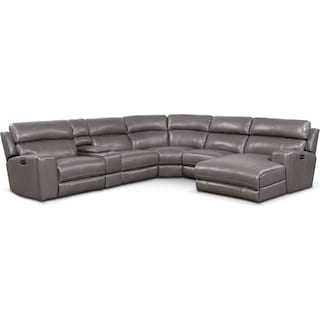 Newport 6-Piece Dual-Power Reclining Sectional with Right-Facing Chaise and 1 Reclining Seat - Gray