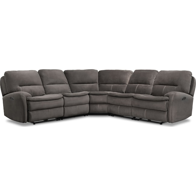 Living Room Furniture - Cruiser 5-Piece Manual Reclining Sectional with 2 Reclining Seats - Coffee