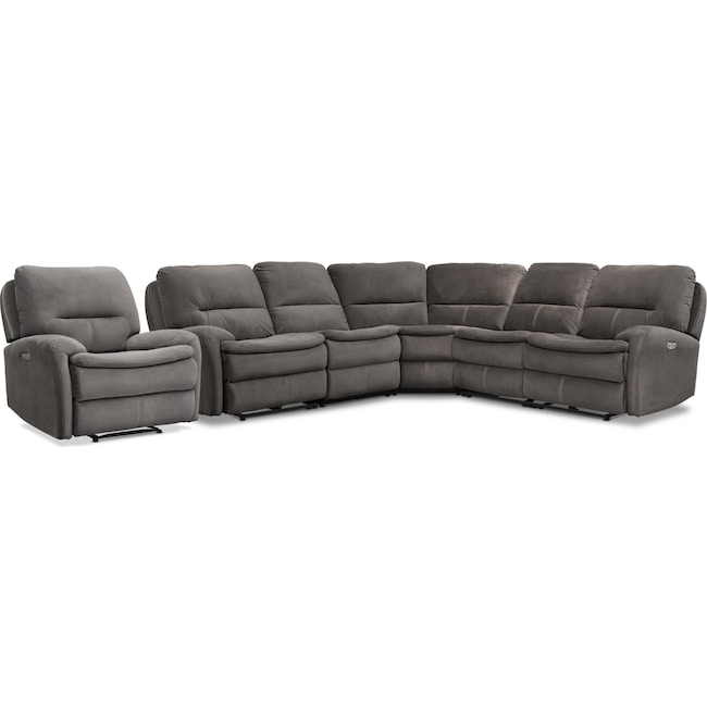 Living Room Furniture - Cruiser 5-Piece Dual Power Reclining Sectional and Recliner Set - Coffee