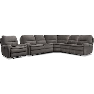 Cruiser 5-Piece Manual Reclining Sectional and Recliner Set - Coffee