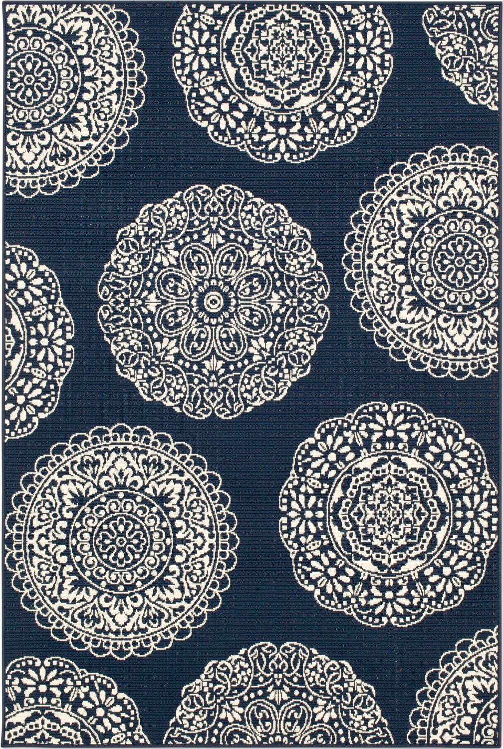 Outdoor Furniture - Anastasia Indoor/Outdoor Rug - Navy/Ivory