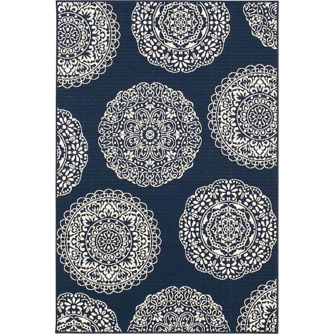 Outdoor Furniture - Anastasia 8' x 10' Indoor/Outdoor Rug - Navy/Ivory