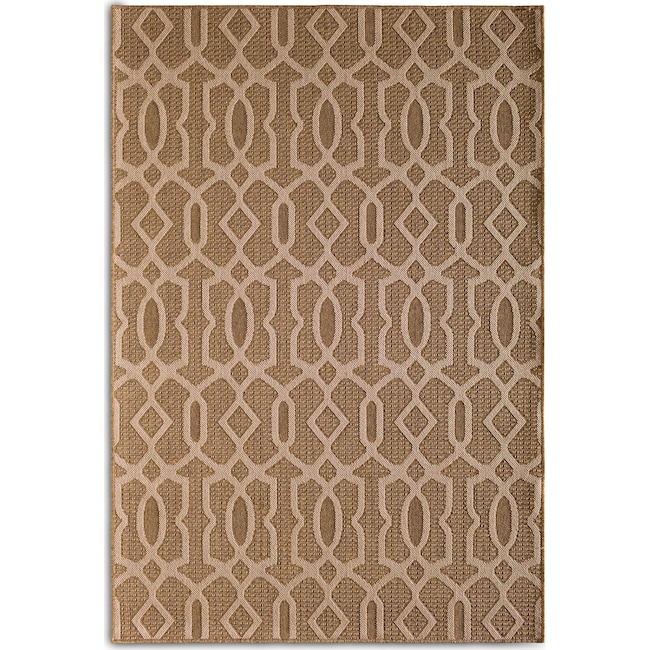 Outdoor Furniture - Fretwork Indoor/Outdoor Rug - Brown