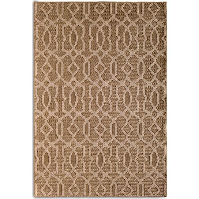 Outdoor Furniture - Fretwork Indoor/Outdoor Rug - Brown