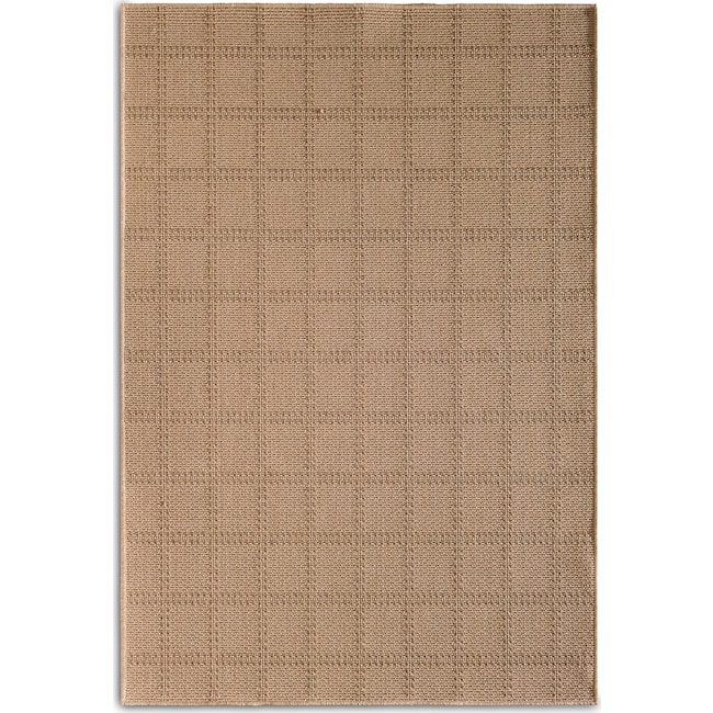 Outdoor Furniture - Plaid 7' x 10' Indoor/Outdoor Rug - Beige