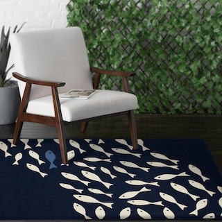 School of Fish 8' x 10' Indoor/Outdoor Rug - Navy