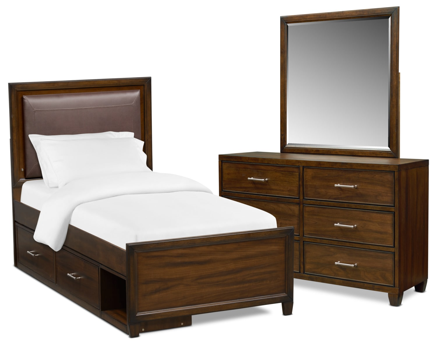 Bedroom Furniture - Sullivan 5-Piece Upholstered Bedroom Set with Storage, Dresser and Mirror