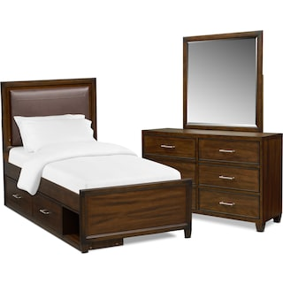 Sullivan 5-Piece Upholstered Bedroom Set with Storage, Dresser and Mirror