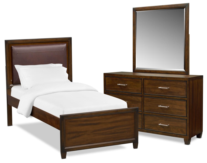 Bedroom Furniture - Sullivan 5-Piece Upholstered Bedroom Set with Dresser and Mirror