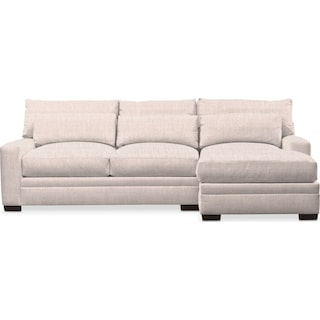 Winston Comfort 2-Piece Sectional with Right-Facing Chaise - Beige