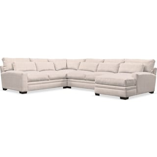 Winston Comfort 4-Piece Sectional with Right-Facing Chaise - Beige