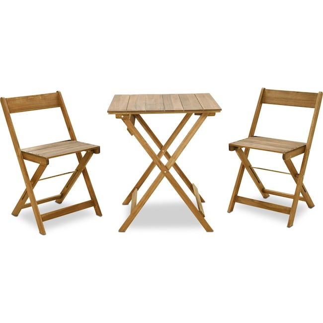 Outdoor Furniture - Hampton Beach 3-Piece Outdoor Folding Bistro Set