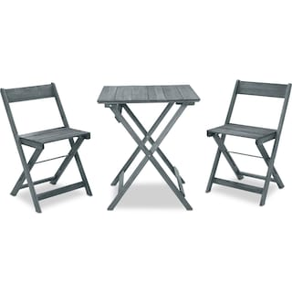 Hampton Beach 3-Piece Outdoor Folding Bistro Set - Gray