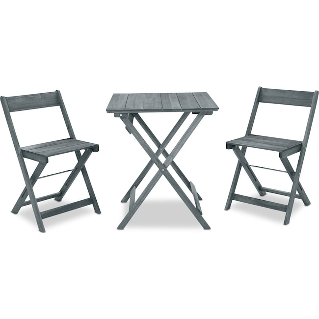 Outdoor Furniture - Hampton Beach 3-Piece Outdoor Folding Bistro Set - Gray