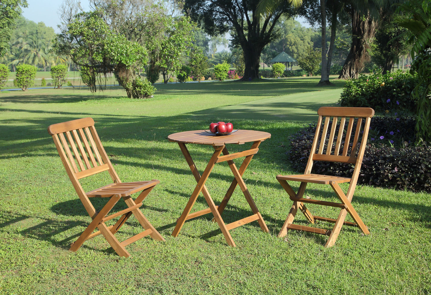 Outdoor Furniture - Hampton Beach 3-Piece Outdoor Bistro Set - Teak