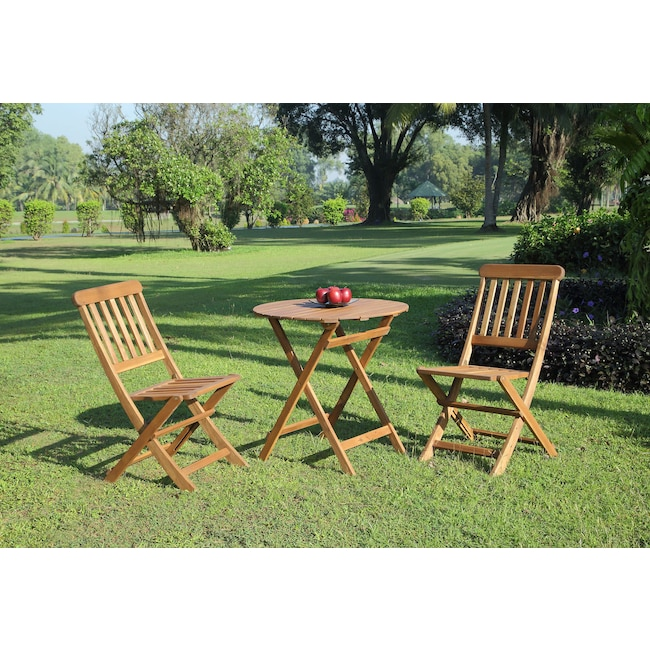Outdoor Furniture - Hampton Beach 3-Piece Outdoor Folding Bistro Set