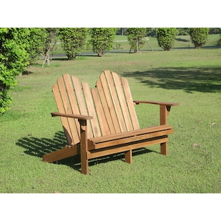 Hampton Beach Outdoor Adirondack Bench - Teak