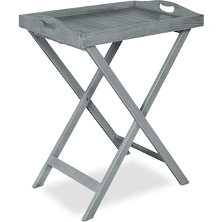 Hampton Beach Outdoor Folding Tray Table - Gray