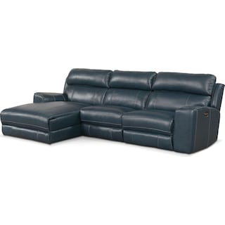Newport 3-Piece Dual-Power Reclining Sectional with Left-Facing Chaise - Blue