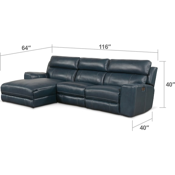 Living Room Furniture - Newport 3-Piece Power Reclining Sectional with Chaise