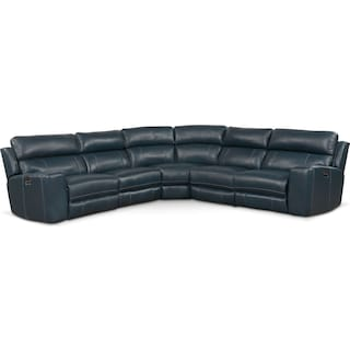 Newport 5-Piece Dual-Power Reclining Sectional with 3 Reclining Seats - Blue
