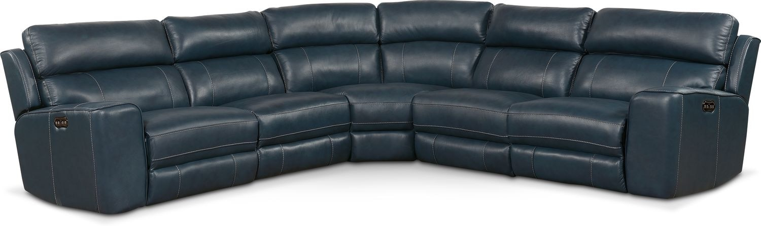 Living Room Furniture - Newport 5-Piece Power Reclining Sectional with 2 Reclining Seats