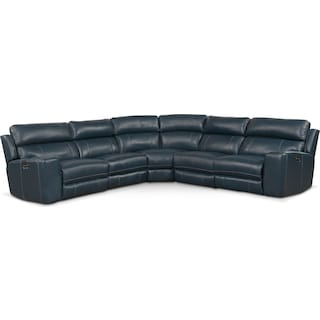 Newport 5-Piece Dual-Power Reclining Sectional with 2 Reclining Seats - Blue