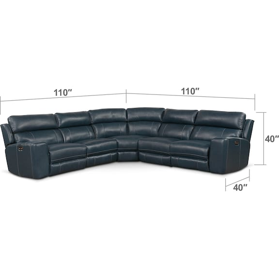 Living Room Furniture - Newport 5-Piece Dual-Power Reclining Sectional with 2 Reclining Seats