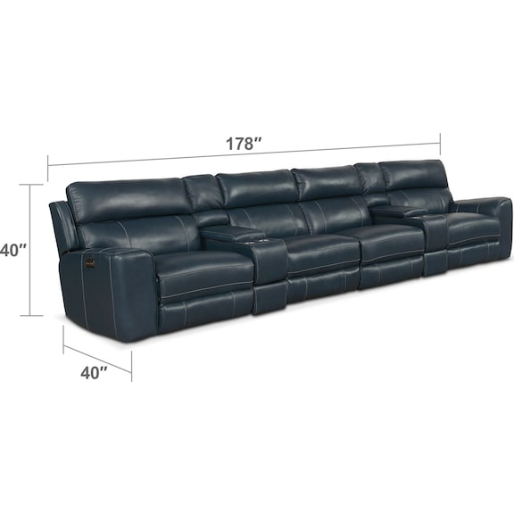 Living Room Furniture - Newport 6-Piece Power Reclining Sectional with 4 Reclining Seats