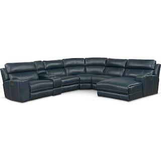 Newport 6-Piece Dual-Power Reclining Sectional with Right-Facing Chaise and 1 Reclining Seat - Blue