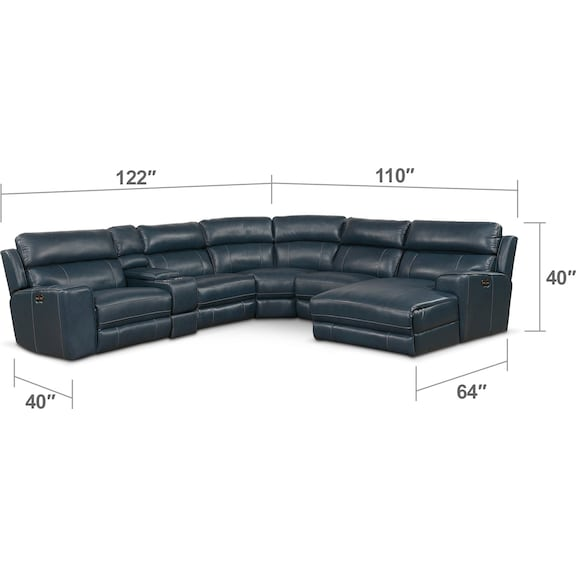 Living Room Furniture - Newport 6-Piece Dual-Power Reclining Sectional with Chaise and 1 Reclining Seat