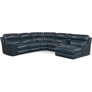 Newport 6-Piece Dual-Power Reclining Sectional with Right-Facing Chaise and 2 Reclining Seats - Blue