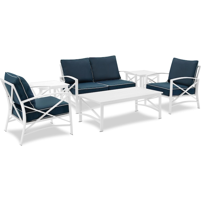 Outdoor Furniture - Clarion Outdoor Loveseat, 2 Chairs, Coffee Table, and 2 End Tables