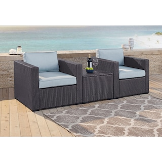 Isla Set of 2 Outdoor Chairs and Coffee Table - Mist