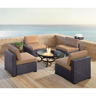 Isla Set of 4 Armless Chairs and Ashland Firepit - Mocha