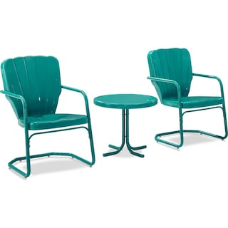 Jack Set of 2 Outdoor Chairs and Side Table - Turquoise