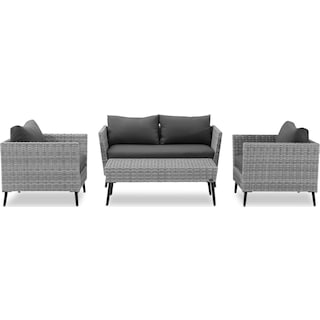 Ventura Outdoor Loveseat, 2 Chairs, and Coffee Table Set - Gray