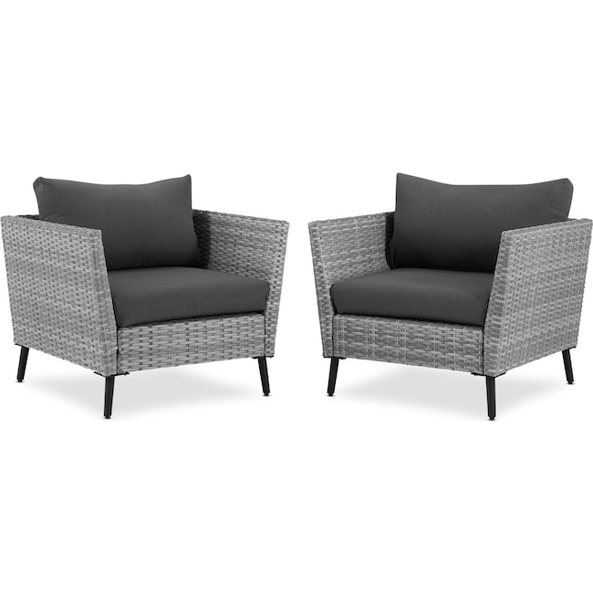 Outdoor Furniture - Ventura Set of 2 Outdoor Chairs - Gray