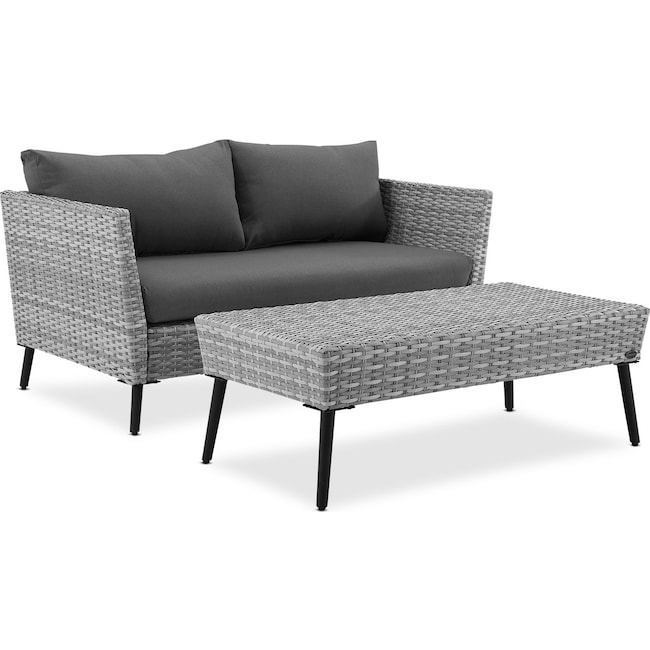Outdoor Furniture - Ventura Outdoor Loveseat and Coffee Table Set - Gray