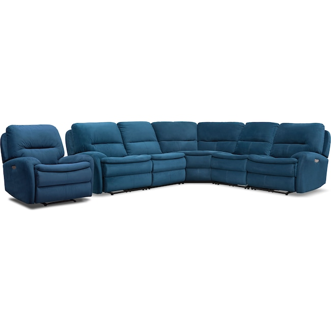 Living Room Furniture - Cruiser 5-Piece Dual Power Reclining Sectional and Recliner Set - Ink