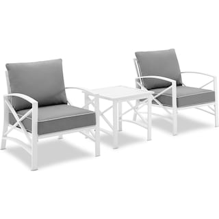 Clarion Set of 2 Outdoor Chairs and End Table - Gray