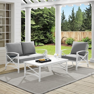Clarion Outdoor Loveseat, Chair, and Coffee Table Set
