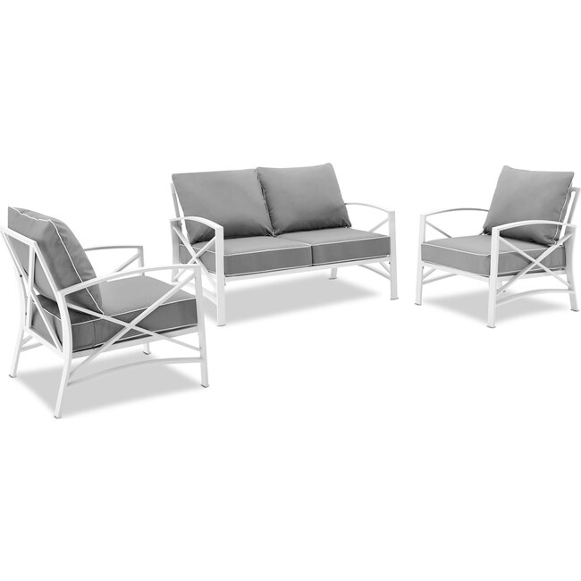 Outdoor Furniture - Clarion Outdoor Loveseat and 2 Chairs Set