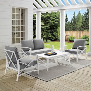 Clarion Outdoor Loveseat, 2 Chairs, and Coffee Table Set - Gray