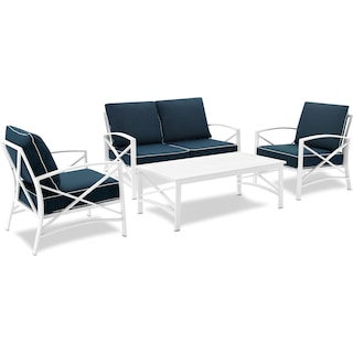 Clarion Outdoor Loveseat, 2 Chairs, and Coffee Table Set - Navy