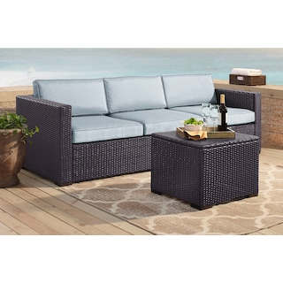 Isla 2-Piece Outdoor Sofa and Coffee Table Set - Mist