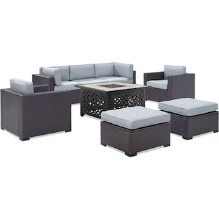Isla 2-Piece Outdoor Sofa, 2 Armchairs, 2 Ottomans, and Tuscan Firetable - Mist